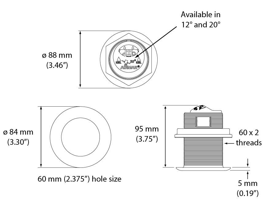 Transductor Airmar B117 dimensiones